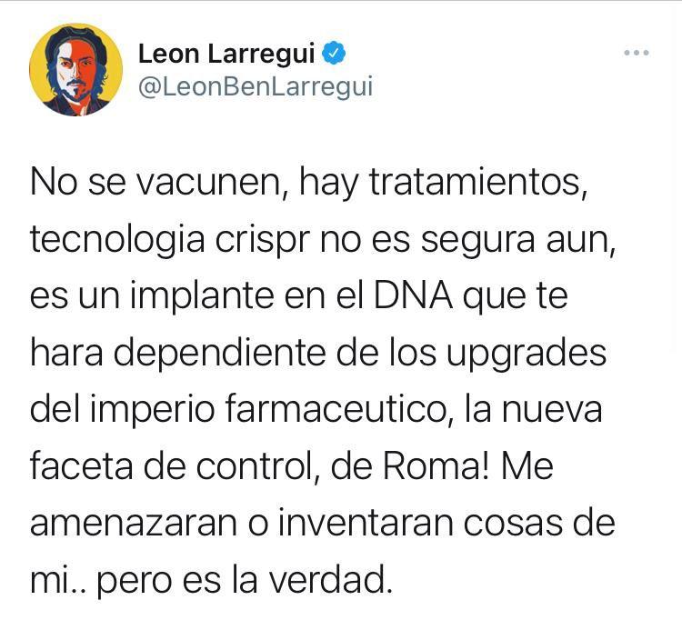 Twitter eliminó la cuenta del vocalista de Zoé, León Larregui, después de que éste se pronunciara en contra de la aplicación de la vacuna contra la Covid-19